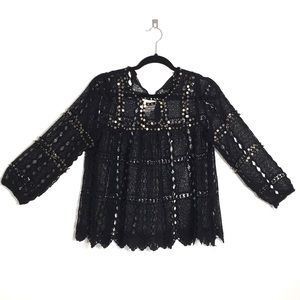 Mauve Anthropologie black lace long sleeves top S